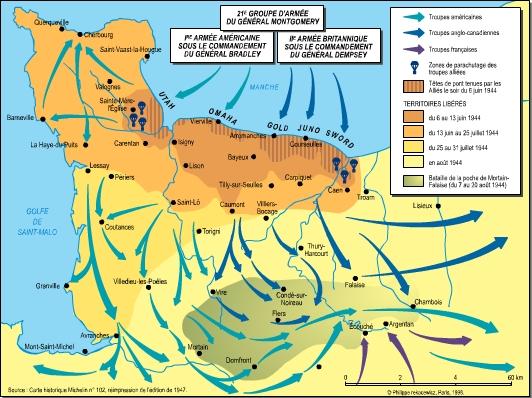 bataille de normandie carte Vire 1944 2004   60e anniversaire du débarquement